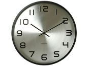 "23"" Silver Wall Clock Black Numbers"